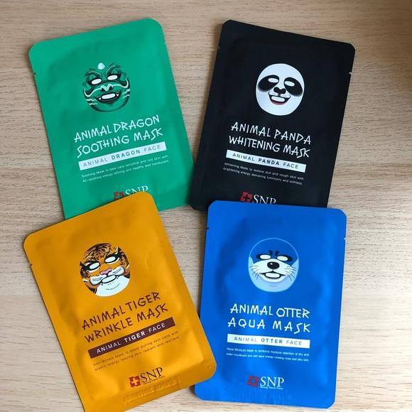 Korean Beauty Animal Sheet Masks for Face 4 masks NWT